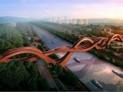 Baanbrekende voetgangersbrug refereert aan Chinese knoopkunst